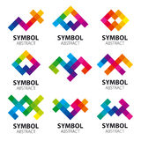 Collection of abstract vector logos of the modules stock illustration