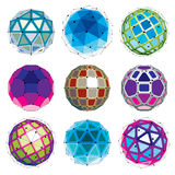 Collection of abstract vector low poly objects with lines and do Royalty Free Stock Photos