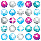 Collection of abstract vector low poly objects with lines and do Royalty Free Stock Image