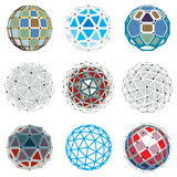 Collection of abstract vector low poly objects with lines and do Stock Image