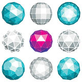 Collection of abstract vector low poly objects with lines and do Royalty Free Stock Photography