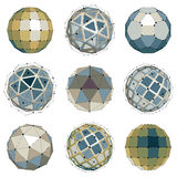 Collection of abstract vector low poly objects with lines and do Royalty Free Stock Images