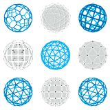 Collection of abstract vector low poly objects with lines and do. Ts connected. Set of futuristic balls with overlapping lines mesh and geometric figures. 3d Royalty Free Stock Photo