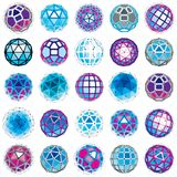 Collection of abstract vector low poly objects with lines and do. Ts connected. Set of futuristic balls with overlapping lines mesh and geometric figures. 3d Stock Photo