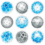 Collection of abstract vector low poly objects  Royalty Free Stock Photo