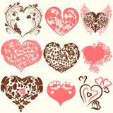 Collection of abstract vector Valentines Day hearts from swirls. Swirl hearts icons set for design Royalty Free Stock Image