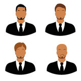 Collection, account, icons, men, faces, flat Stock Photography