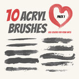 Collection  acryl brushes, Grunge elements with paint styl Royalty Free Stock Photo