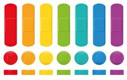 Collection adhésive de bandage de couleurs de plâtres Images stock
