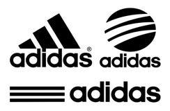 Collection of Adidas logos. Kiev, Ukraine - October 27, 2017: Collection of Adidas logos printed on white paper. Adidas is a German multinational corporation Stock Photos