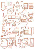 Collection of Adjustable Interior Furniture Design Icon infographic ,chair ,table ,daybed ,sofa ,stool , window, lamp, cupboard Stock Photo