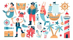 Collection of adorable pirates, sail ship, mermaids, sea fish and underwater creatures, treasure chest, lighthouse royalty free illustration