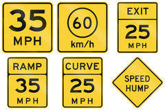 Collection of advisory speed signs used in the USA.  Stock Photo