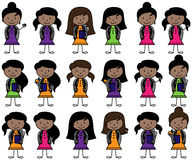 Collection of African American Students in Vector Format. With Backpacks Stock Images