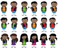 Collection of African American Students in Vector Format. With Backpacks Stock Photo