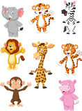 A collection of 8 African animals cartoon Royalty Free Stock Image