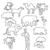 Collection of African animals in a contour flat line art. Zebra camel elephant lion flamingo hippo and giraffe. Use as stock illustration