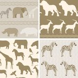 Collection of african animals patterns Stock Photo