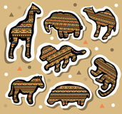 Collection of african animals stickers with seamless pattern royalty free stock photography
