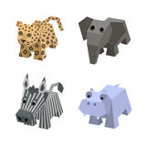 Collection of african isometric animals in vector. Vector set of african isometric animals. Different cartoon isometric 3d animals isolated: elephant, leopard Stock Images