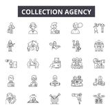 Collection agency line icons for web and mobile design. Editable stroke signs. Collection agency outline concept. Collection agency line icons for web and mobile royalty free illustration