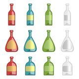 Collection of alcohol bottles with template lables Stock Images