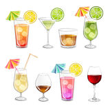 Collection of alcohol cocktails . Stock Image