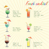 Collection of alcohol cocktails and other drinks Royalty Free Stock Photos