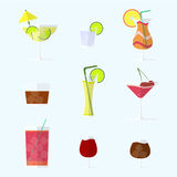 Collection of alcohol coctails and other drinks. Collection of alcohol coctails with ice and fruits Royalty Free Stock Photos