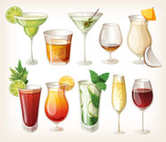 Collection of alcohol drinks. Collection of alcohol cocktails and other drinks vector illustration