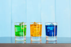 Collection of alcoholic cocktails in shot glasses Royalty Free Stock Images