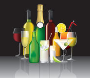 Collection of alcoholic drinks Royalty Free Stock Photo
