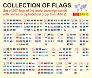 Set of 297 flags of the world sovereign states with names in alphabetical order from A to Z. Vector illustration. royalty free illustration