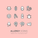 Collection of Allergy, Food and Domestic Pet Intolerance, Skin Reaction, Eye and Nose Disease. Vector Icon Style Illustration Logo Set Collection of Allergy Stock Photos