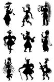 Collection of allsorts of silhouettes of people Royalty Free Stock Images