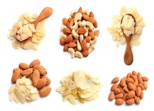 Collection of Almonds nuts. Almonds nuts collection isolated on white backgrounds royalty free stock photography