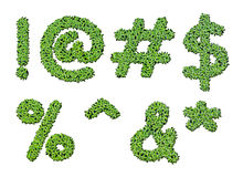 Collection of alphabet letter symbols from duckweed Stock Photos