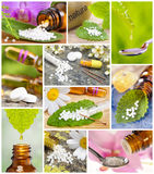 Collection of alternative medicine and homeopathy. Collage of alternative medicine and homeopathy with herbal pills and acupuncture royalty free stock photography