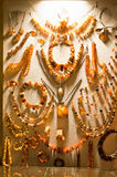 Collection of amber jewelry Stock Image