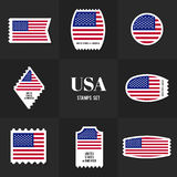 Collection American Flag postage stamp Royalty Free Stock Photography
