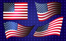 Collection of american flags moving in the wind in vector Stock Photos