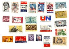 Collection of American stamps. 20-30+ years old Royalty Free Stock Photography