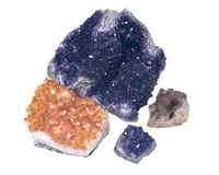 Collection of amethyst and citrine druzy clusters Stock Image