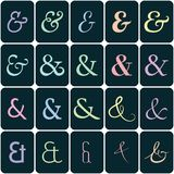 Collection of  ampersands on colors for lettes and Royalty Free Stock Images