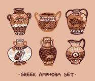 Collection of amphora and vase in the Greek style. Greek amphora set in cartoon style. Vector illustration Stock Photography