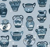 Collection of amphora and vase wih cartoon animals and decorative ornament in Greek style. Brown greek amphora seamless pattern in cartoon style. Vector Royalty Free Stock Images