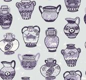 Collection of amphora and vase wih cartoon animals and decorative ornament in Greek style. Brown greek amphora seamless pattern in cartoon style. Vector Stock Images