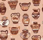 Collection of amphora and vase wih cartoon animals and decorative ornament in the Greek style. Brown greek amphora seamless pattern in cartoon style. Vector Stock Photos