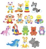 Collection of amusing colorful toy animals royalty free stock images