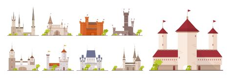 Collection of ancient castles, fortresses, citadels and strongholds isolated on white background. Set of buildings of. Beautiful medieval architecture. Flat Royalty Free Stock Photos